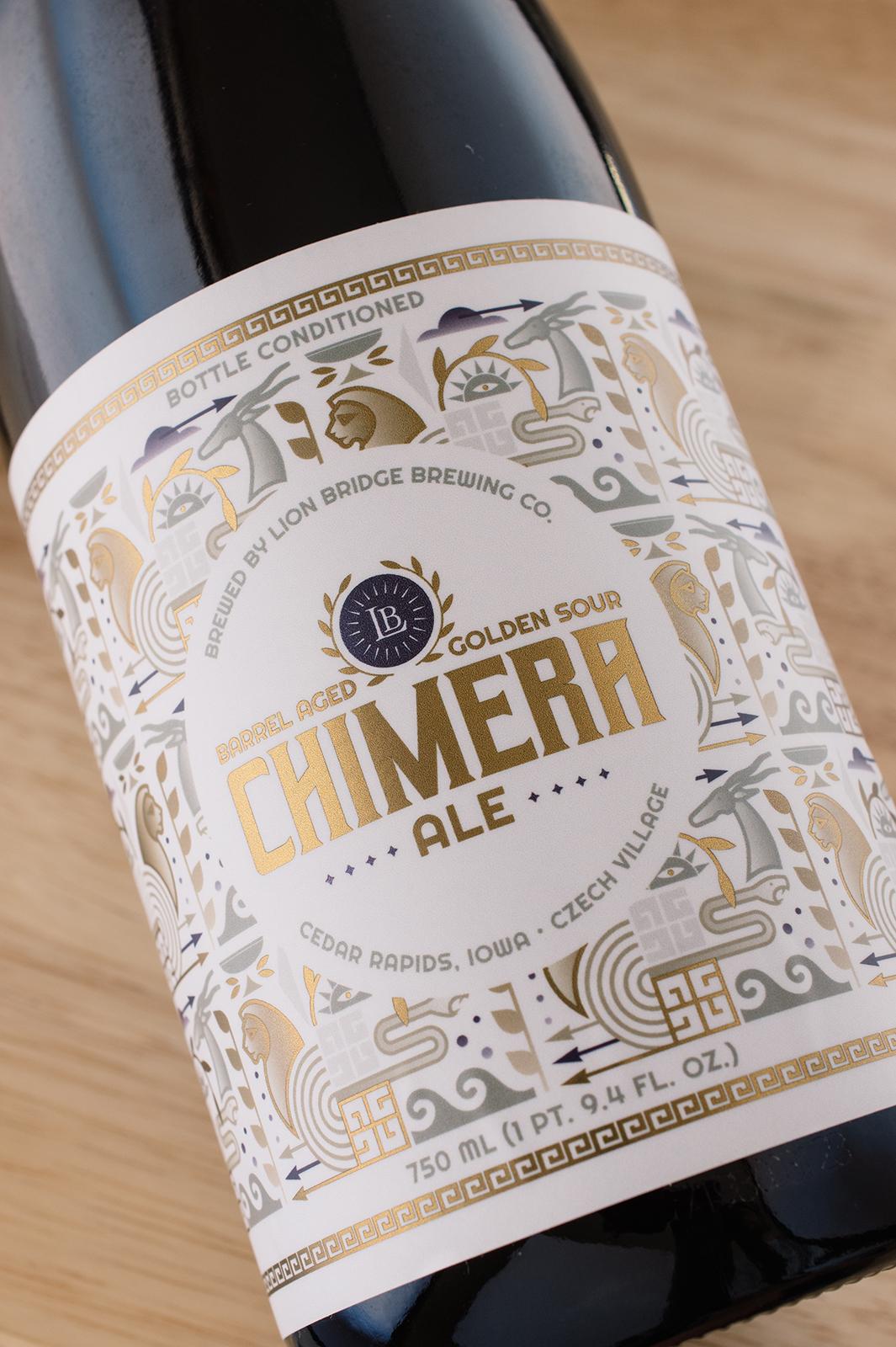 Lion Bridge Brewing Company Chimera Barrel Aged Sour Beer Bottle Label Design Megan Lynn Creative
