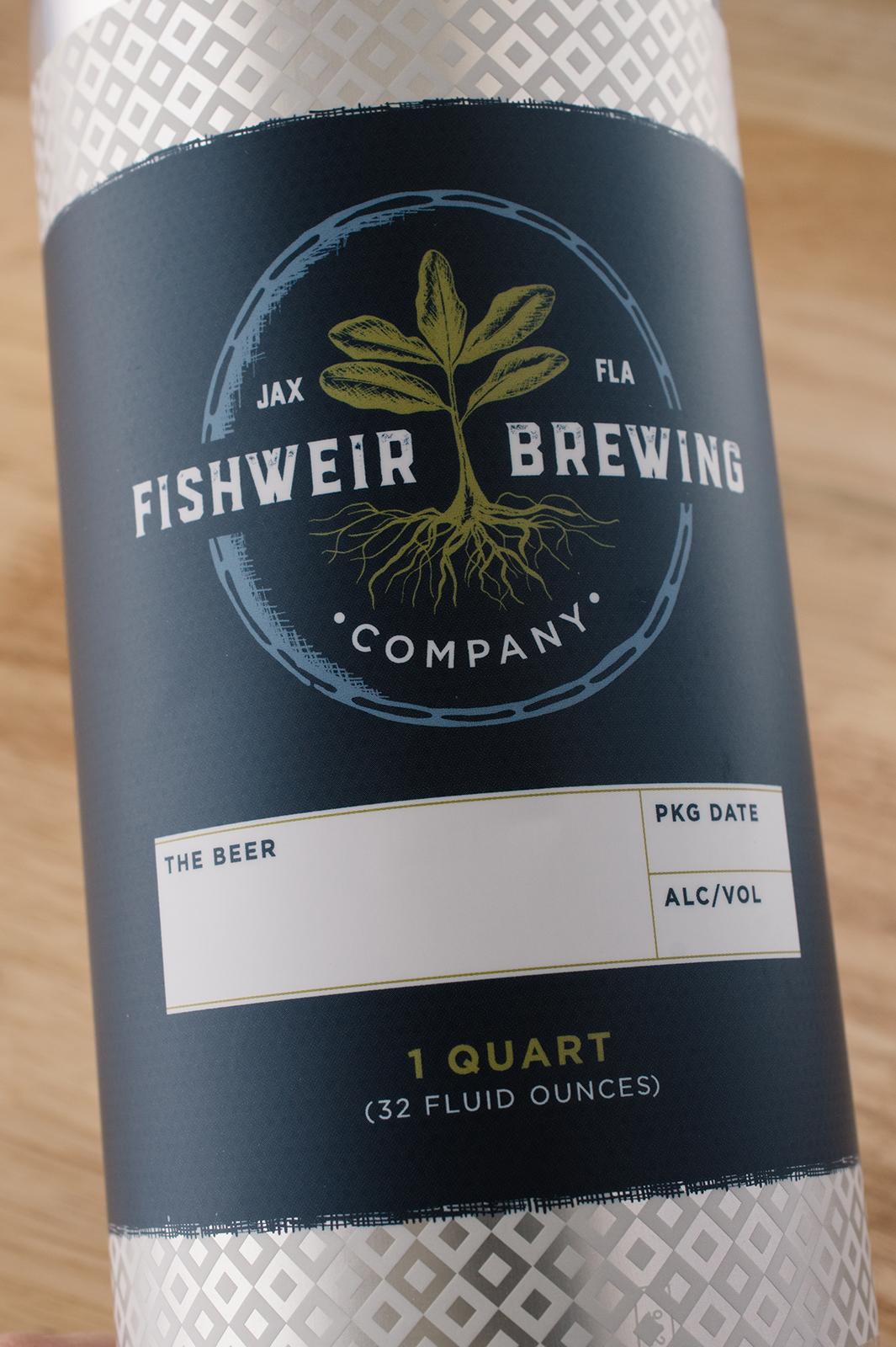 fishweir brewing company craft beer crowler label design cedar rapids iowa graphic designer