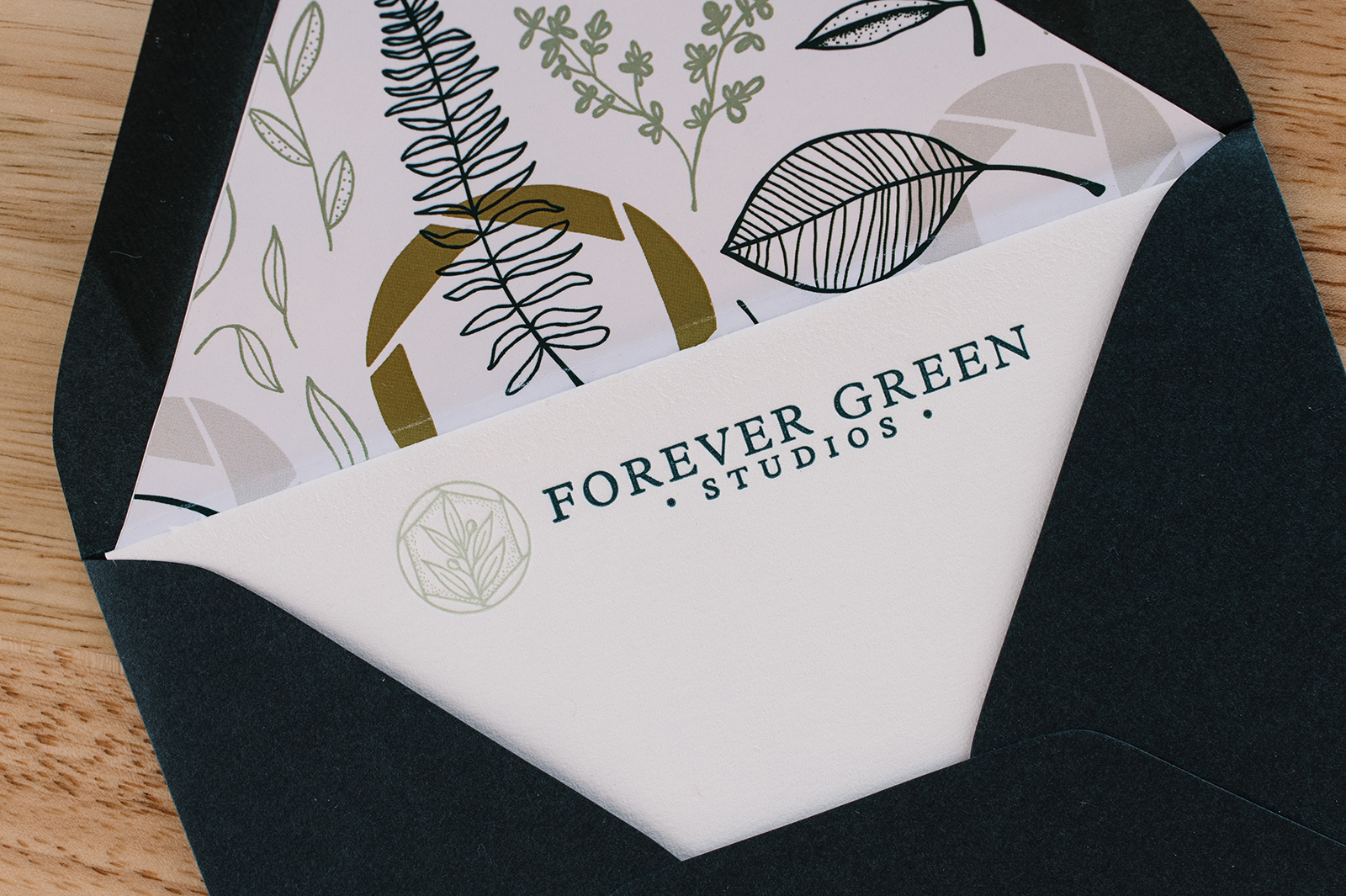 letterpress notecards with custom botanical illustration envelope liners graphic designer cedar rapids