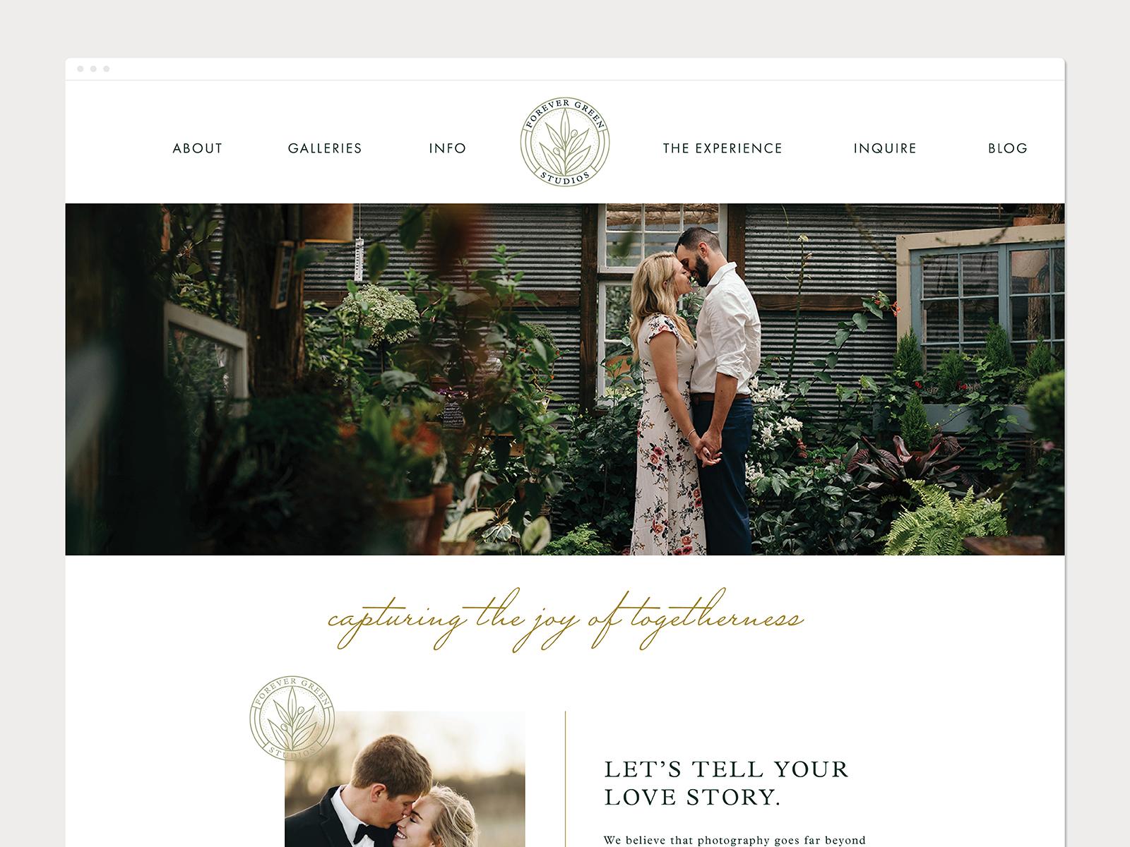 Cedar Rapids Iowa wedding photography website design