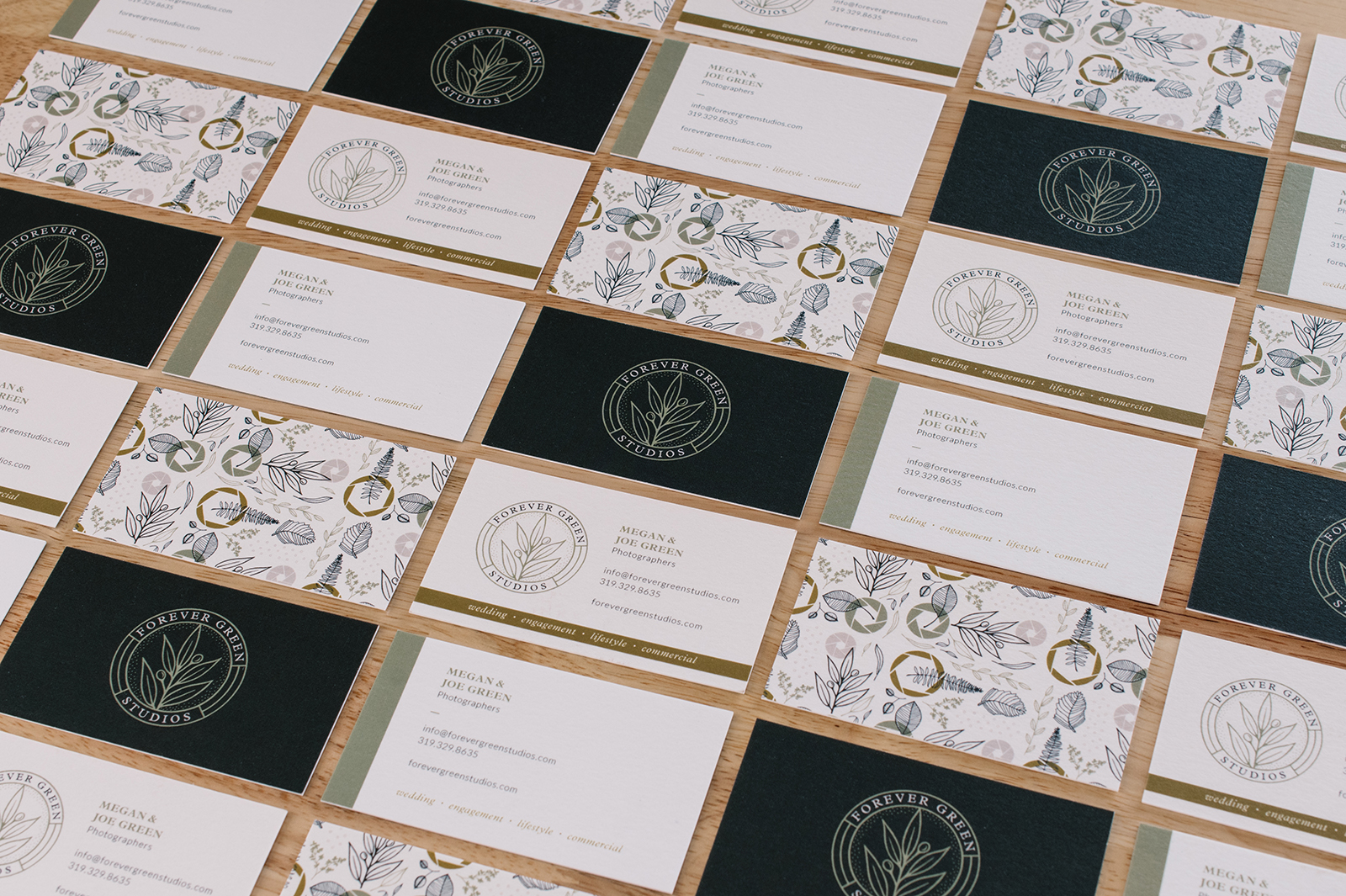 Forever Green Studios botanical logo and brand design business cards
